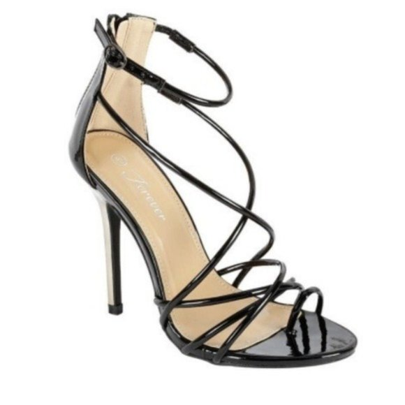 Forever Link Shoes - Black Strappy Open Toe High Heels